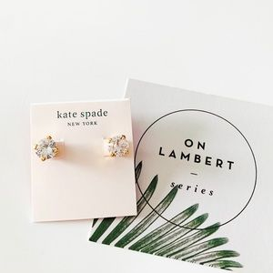 Kate Spade Crystal with Heart Stud Earrings Clear